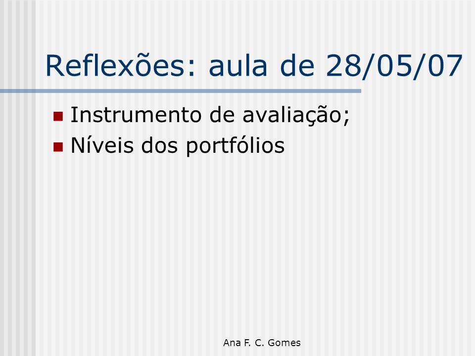 Reflexões: aula de 28/05/07 Instrumento de avaliação;