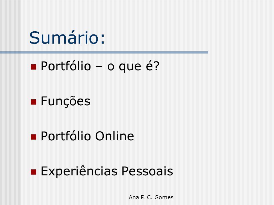 Sumário: Portfólio – o que é Funções Portfólio Online