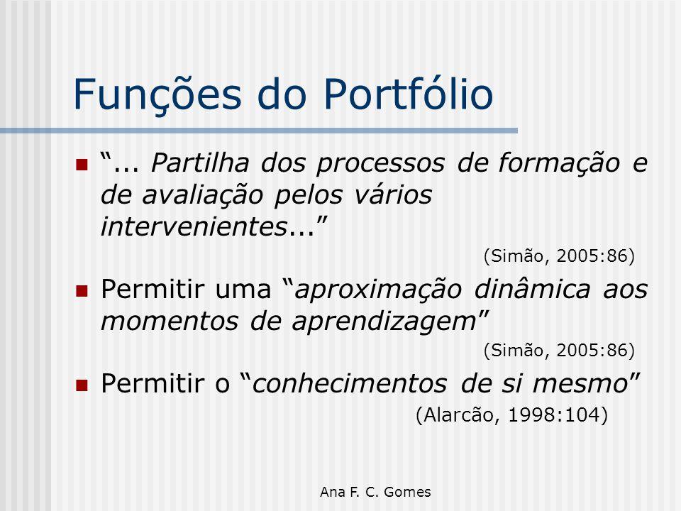 Funções do Portfólio ... Partilha dos processos de formação e de avaliação pelos vários intervenientes...