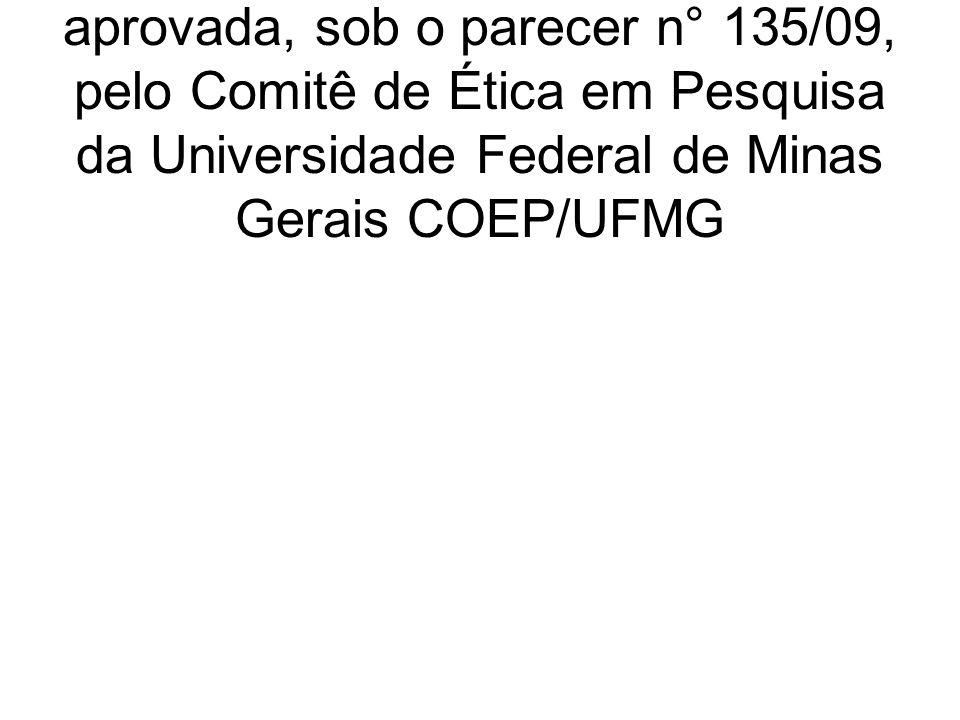 A presente pesquisa foi analisada e aprovada, sob o parecer n° 135/09, pelo Comitê de Ética em Pesquisa da Universidade Federal de Minas Gerais COEP/UFMG