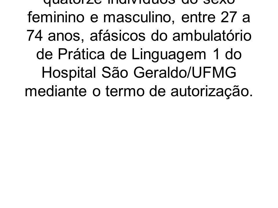 O estudo é do tipo transversal composto por um grupo de quatorze indivíduos do sexo feminino e masculino, entre 27 a 74 anos, afásicos do ambulatório de Prática de Linguagem 1 do Hospital São Geraldo/UFMG mediante o termo de autorização.