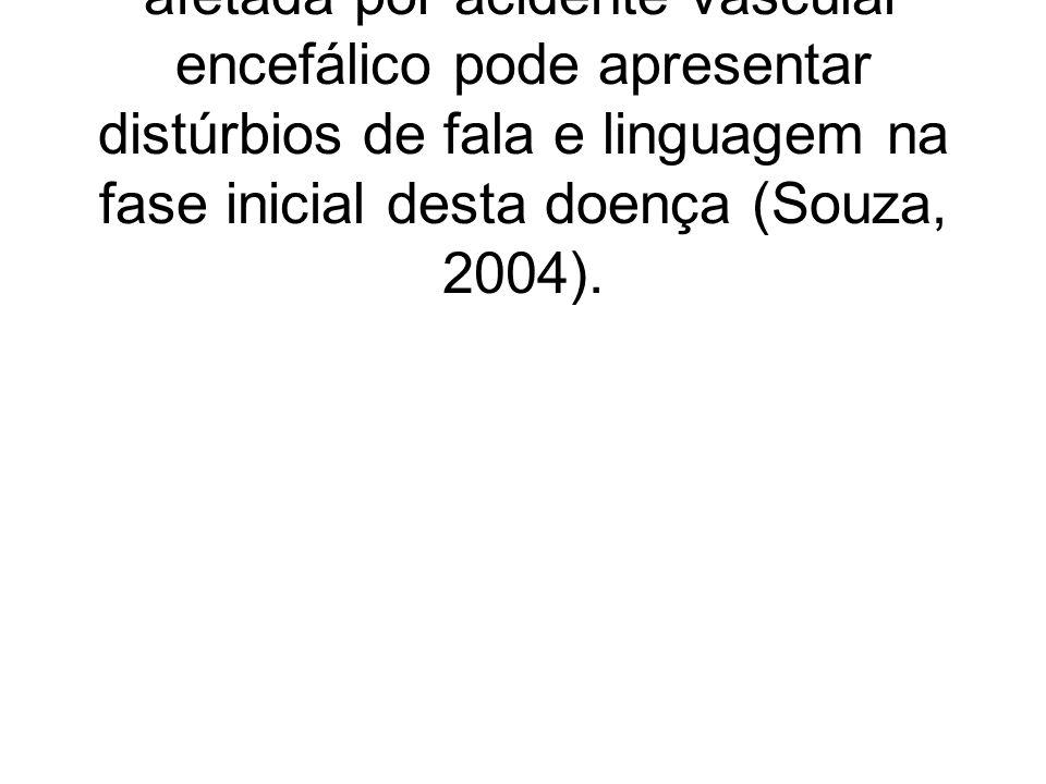 Cerca de um terço da população afetada por acidente vascular encefálico pode apresentar distúrbios de fala e linguagem na fase inicial desta doença (Souza, 2004).