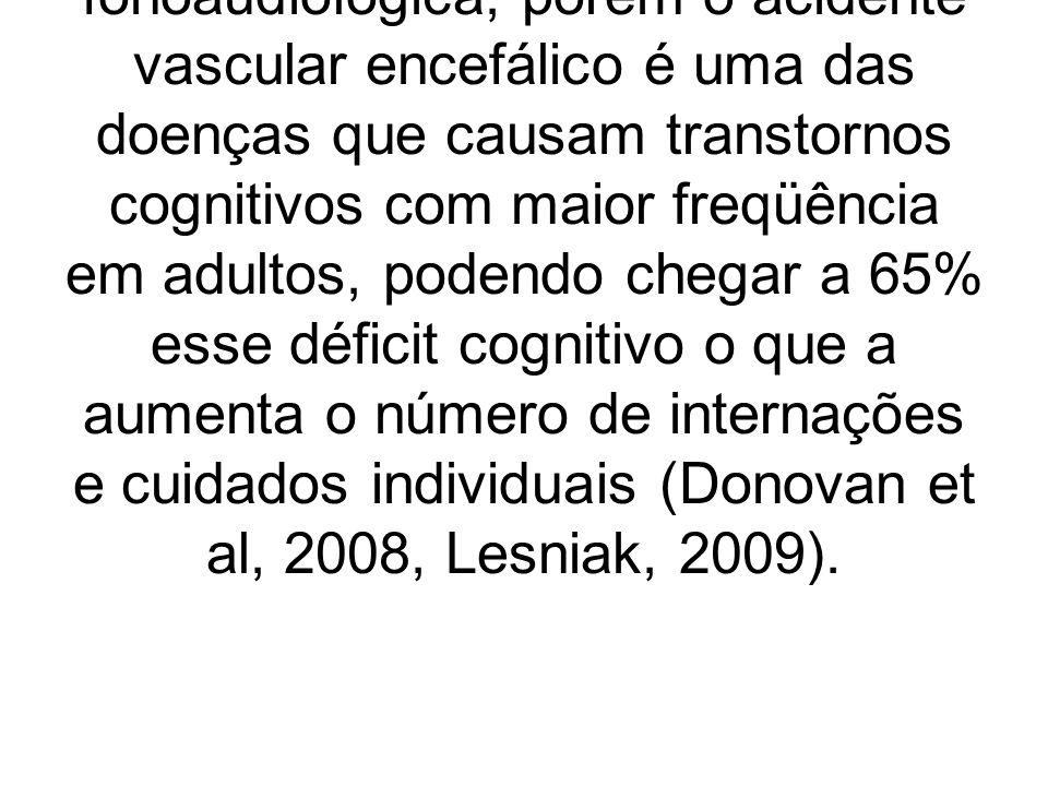 Atualmente a reabilitação das afasias têm-se baseado principalmente na terapia de linguagem, o que pode ser observado na prática clínica fonoaudiológica, porém o acidente vascular encefálico é uma das doenças que causam transtornos cognitivos com maior freqüência em adultos, podendo chegar a 65% esse déficit cognitivo o que a aumenta o número de internações e cuidados individuais (Donovan et al, 2008, Lesniak, 2009).