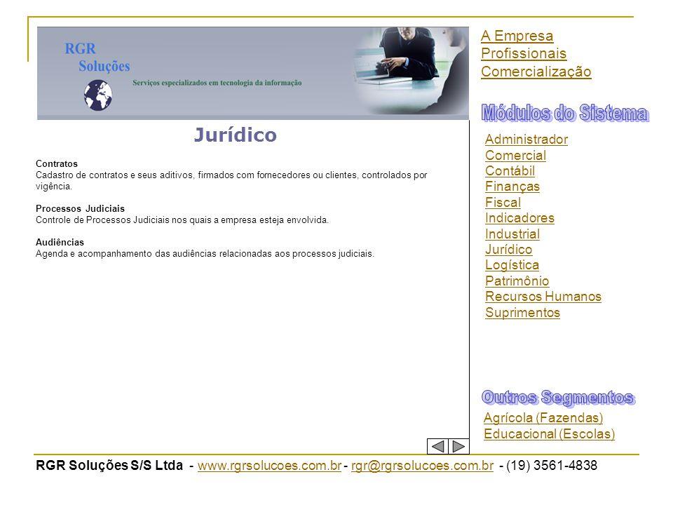 Módulos do Sistema Jurídico Outros Segmentos A Empresa Profissionais