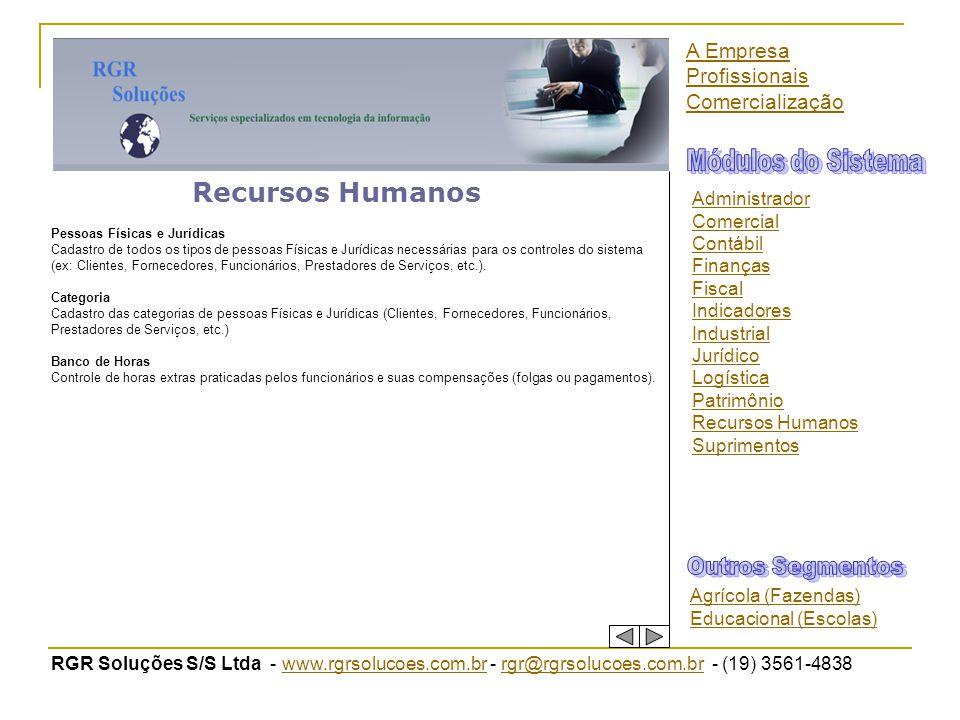 Módulos do Sistema Recursos Humanos Outros Segmentos A Empresa