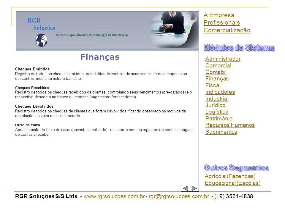 Módulos do Sistema Finanças Outros Segmentos A Empresa Profissionais