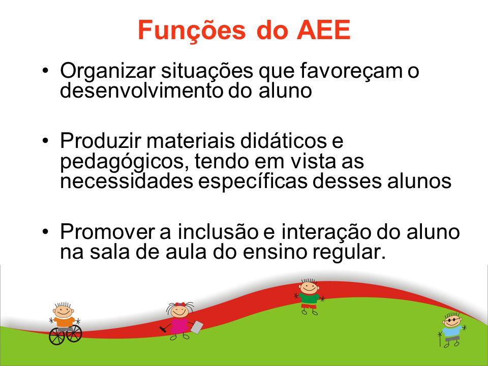 Funções do AEE Organizar situações que favoreçam o desenvolvimento do aluno.