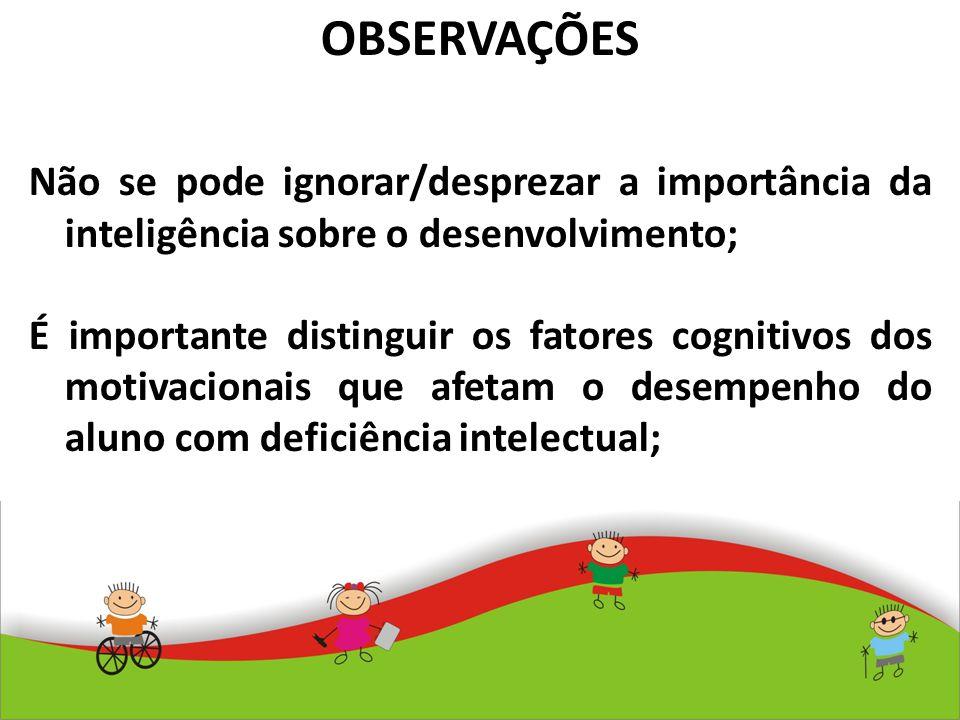 OBSERVAÇÕES Não se pode ignorar/desprezar a importância da inteligência sobre o desenvolvimento;