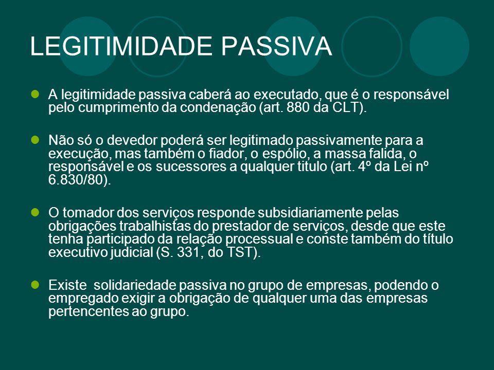 LEGITIMIDADE PASSIVA A legitimidade passiva caberá ao executado, que é o responsável pelo cumprimento da condenação (art. 880 da CLT).