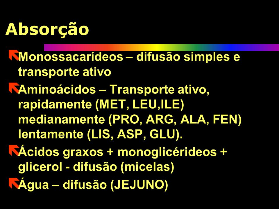 Absorção Monossacarídeos – difusão simples e transporte ativo