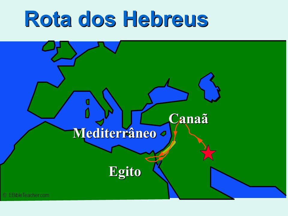 Rota dos Hebreus © EBibleTeacher.com Mediterrâneo Egito Canaã