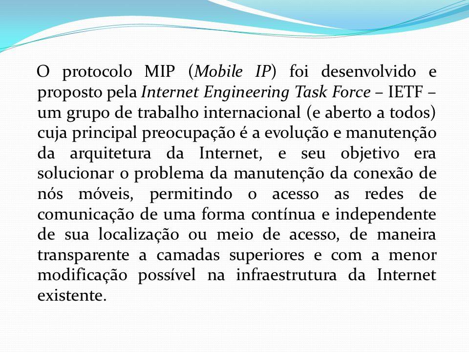 O protocolo MIP (Mobile IP) foi desenvolvido e proposto pela Internet Engineering Task Force – IETF – um grupo de trabalho internacional (e aberto a todos) cuja principal preocupação é a evolução e manutenção da arquitetura da Internet, e seu objetivo era solucionar o problema da manutenção da conexão de nós móveis, permitindo o acesso as redes de comunicação de uma forma contínua e independente de sua localização ou meio de acesso, de maneira transparente a camadas superiores e com a menor modificação possível na infraestrutura da Internet existente.