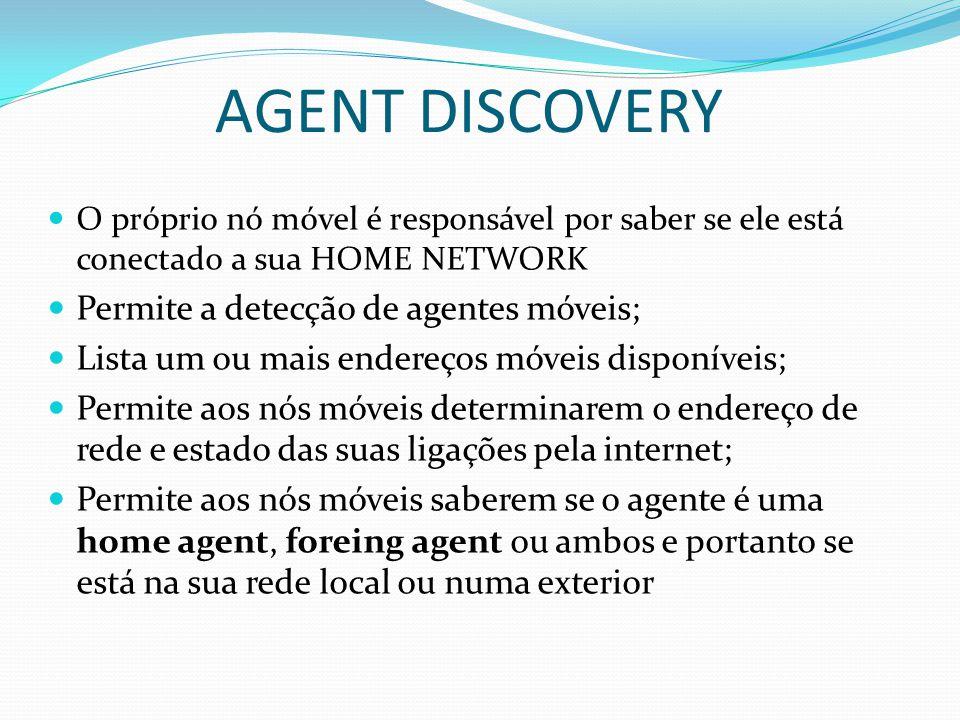 AGENT DISCOVERY Permite a detecção de agentes móveis;