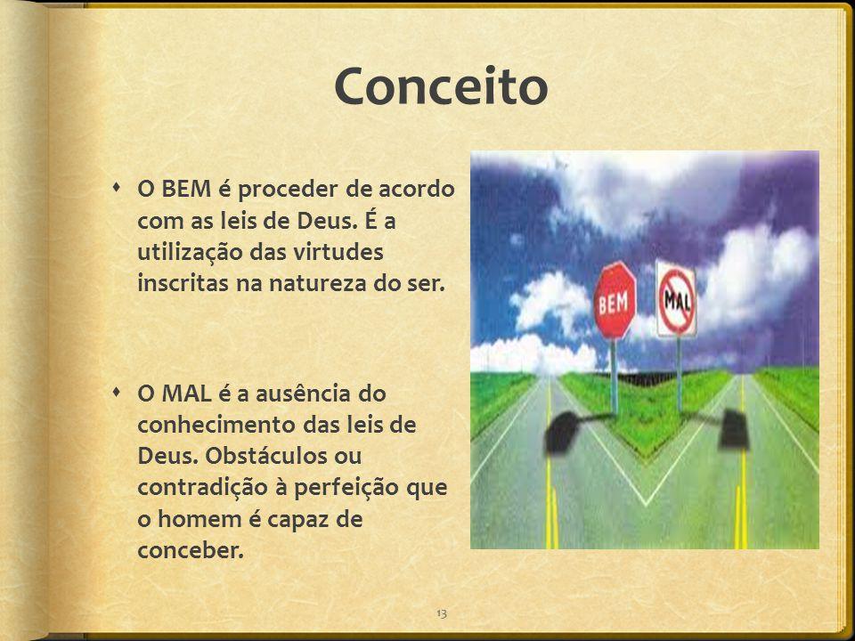 Conceito O BEM é proceder de acordo com as leis de Deus. É a utilização das virtudes inscritas na natureza do ser.