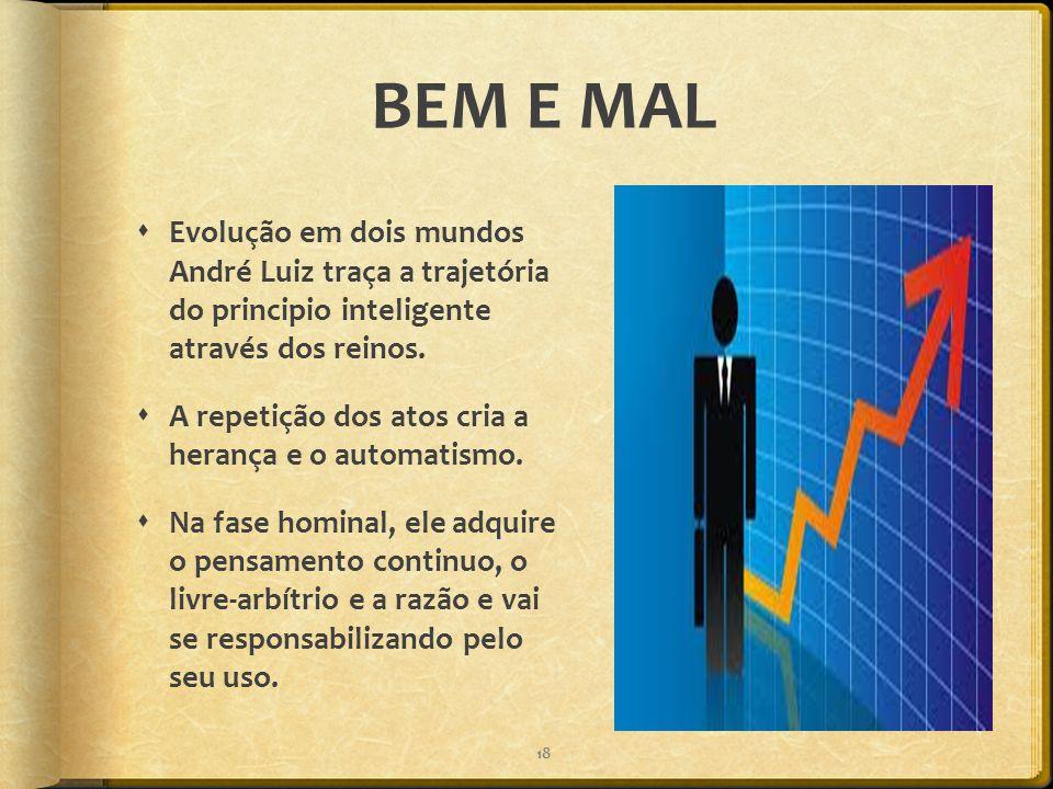 BEM E MAL Evolução em dois mundos André Luiz traça a trajetória do principio inteligente através dos reinos.