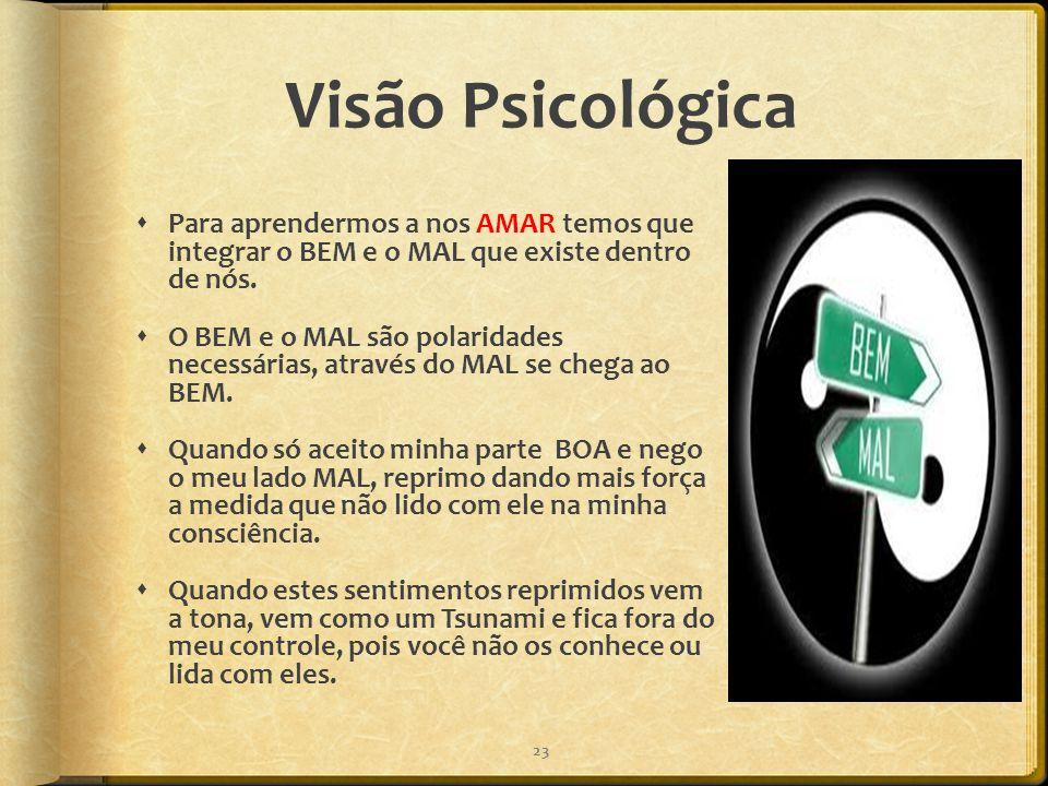 Visão Psicológica Para aprendermos a nos AMAR temos que integrar o BEM e o MAL que existe dentro de nós.