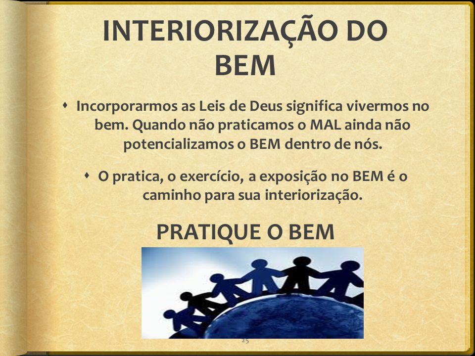 INTERIORIZAÇÃO DO BEM PRATIQUE O BEM