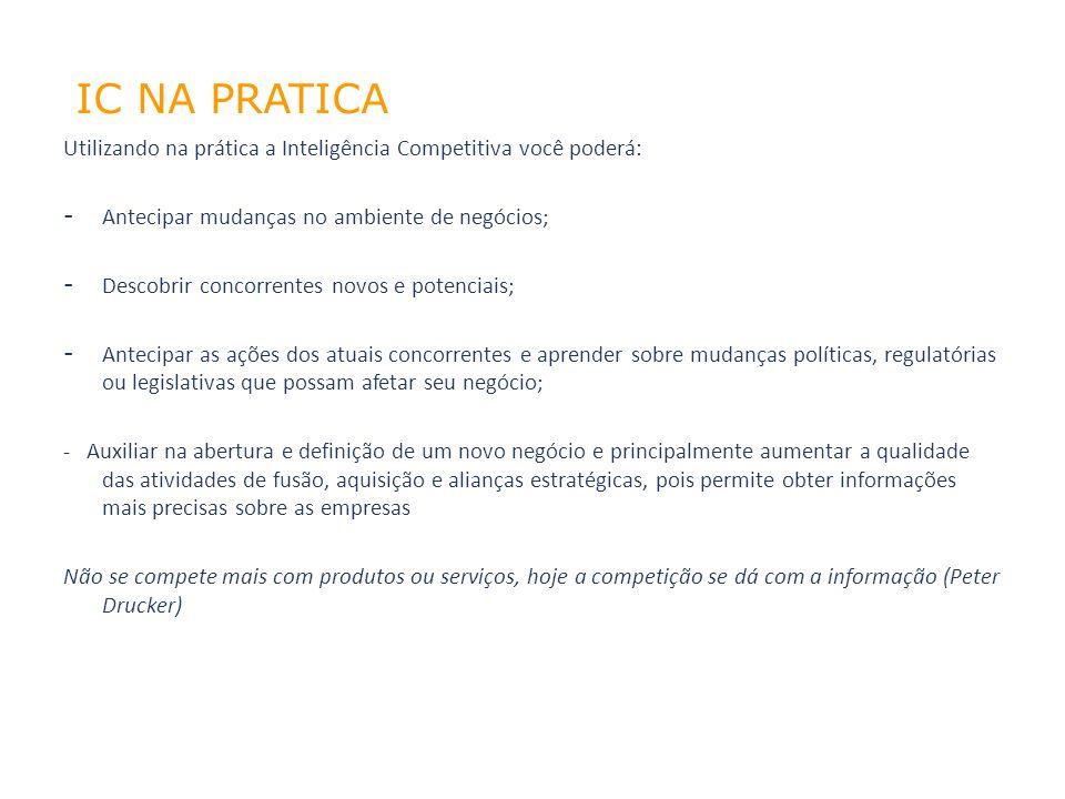 02/04/10 IC NA PRATICA. Utilizando na prática a Inteligência Competitiva você poderá: Antecipar mudanças no ambiente de negócios;