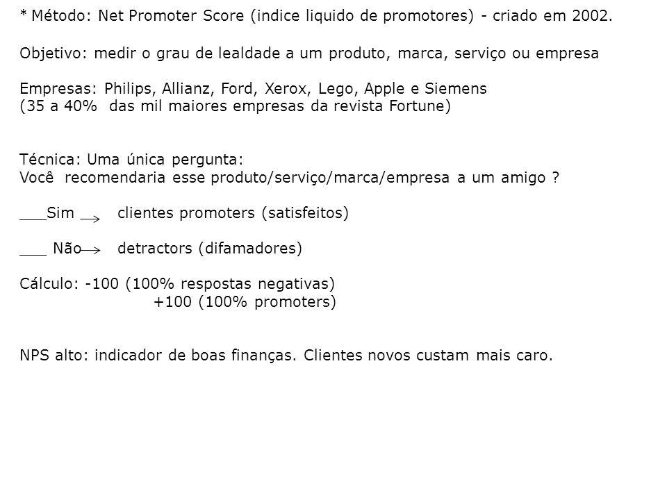 * Método: Net Promoter Score (indice liquido de promotores) - criado em 2002.