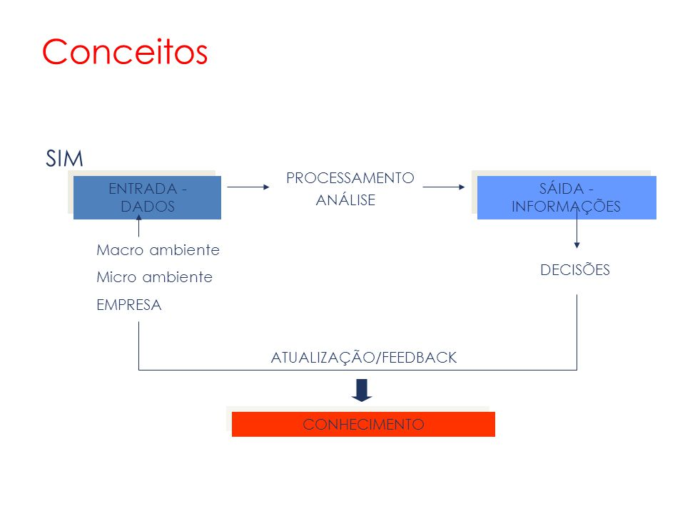 Conceitos SIM PROCESSAMENTO ANÁLISE ENTRADA - DADOS