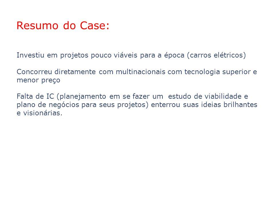 02/04/10 Resumo do Case: Investiu em projetos pouco viáveis para a época (carros elétricos)