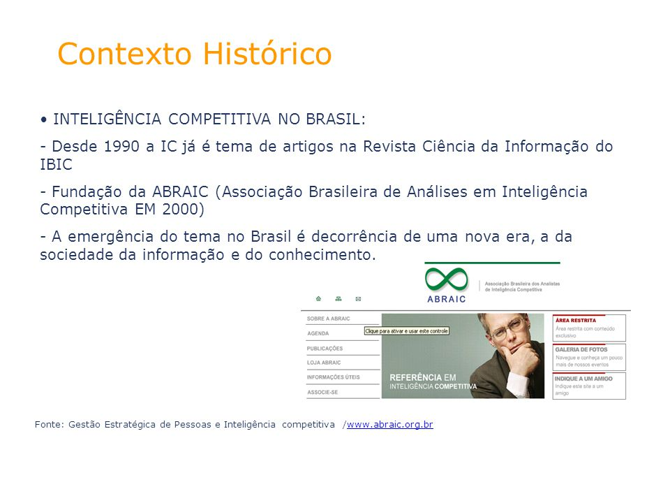 Contexto Histórico INTELIGÊNCIA COMPETITIVA NO BRASIL: