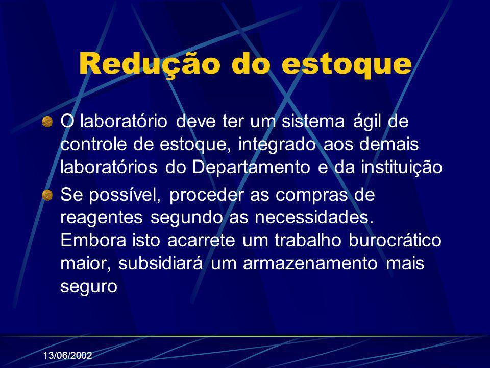 Redução do estoque O laboratório deve ter um sistema ágil de controle de estoque, integrado aos demais laboratórios do Departamento e da instituição.