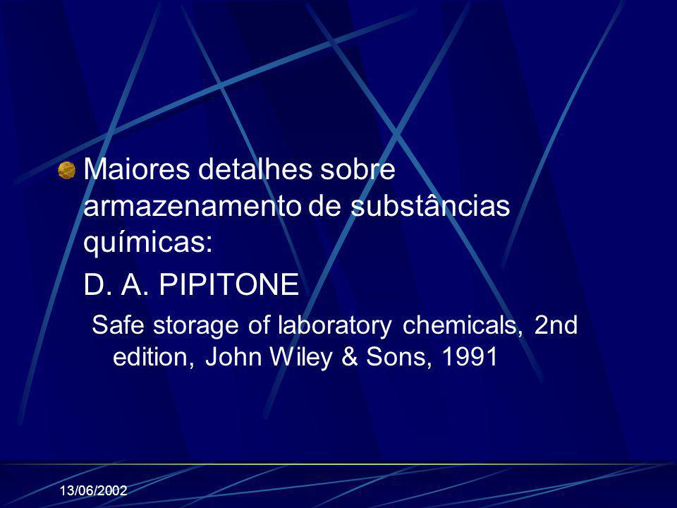 Maiores detalhes sobre armazenamento de substâncias químicas: