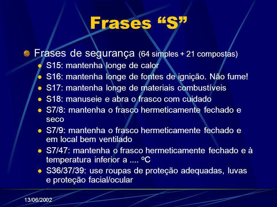 Frases S Frases de segurança (64 simples + 21 compostas)