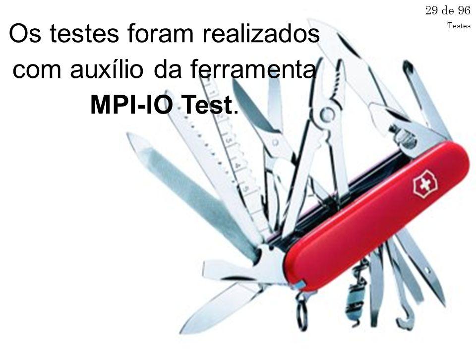 Os testes foram realizados com auxílio da ferramenta MPI-IO Test.