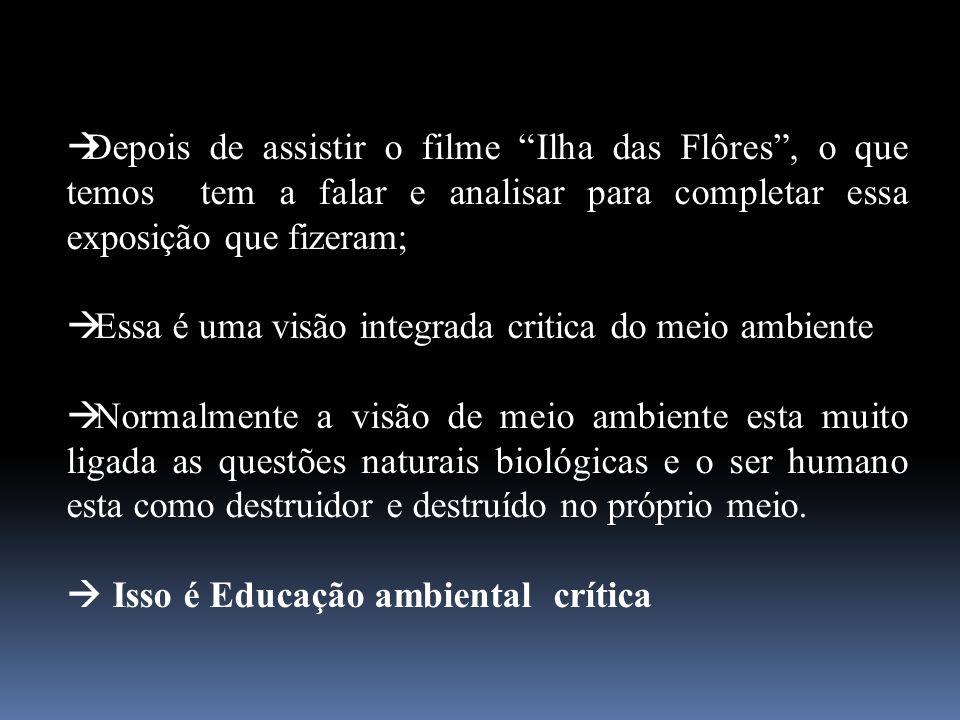 Depois de assistir o filme Ilha das Flôres , o que temos tem a falar e analisar para completar essa exposição que fizeram;