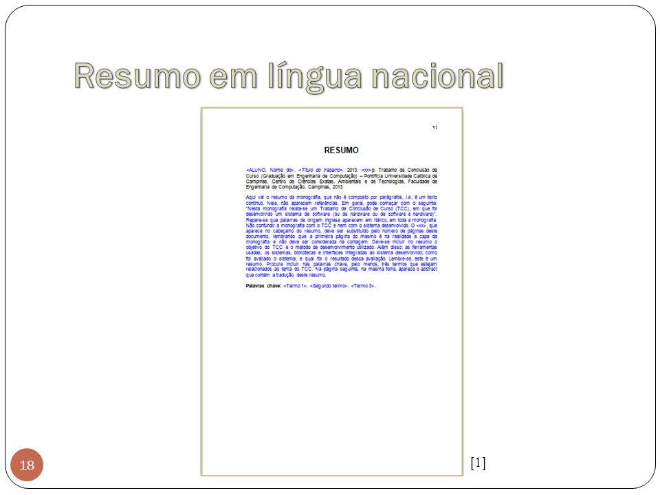 Resumo em língua nacional