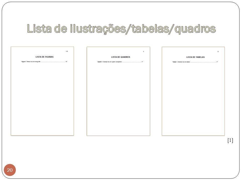 Lista de ilustrações/tabelas/quadros
