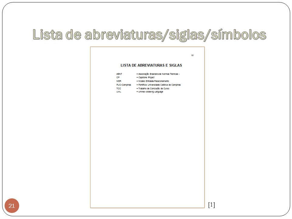 Lista de abreviaturas/siglas/símbolos