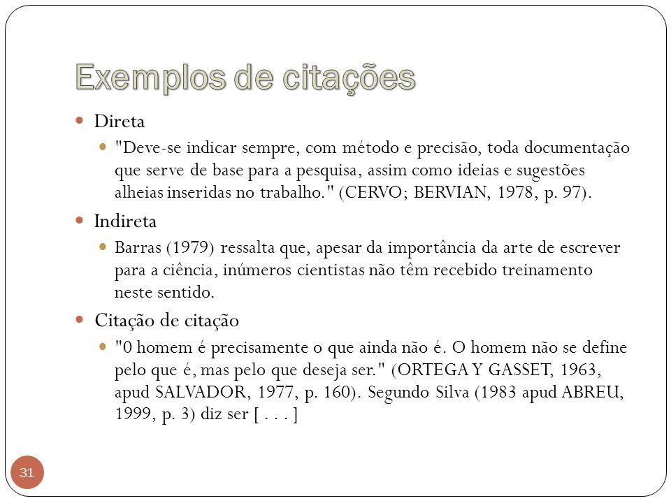 Exemplos de citações Direta Indireta Citação de citação