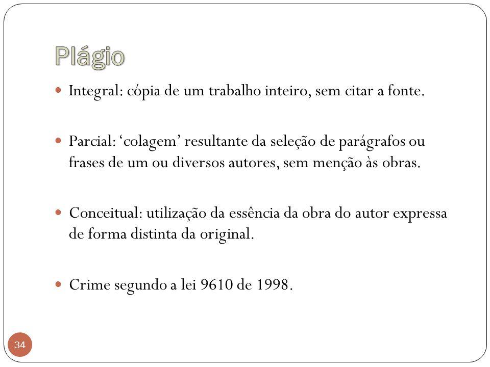 Plágio Integral: cópia de um trabalho inteiro, sem citar a fonte.