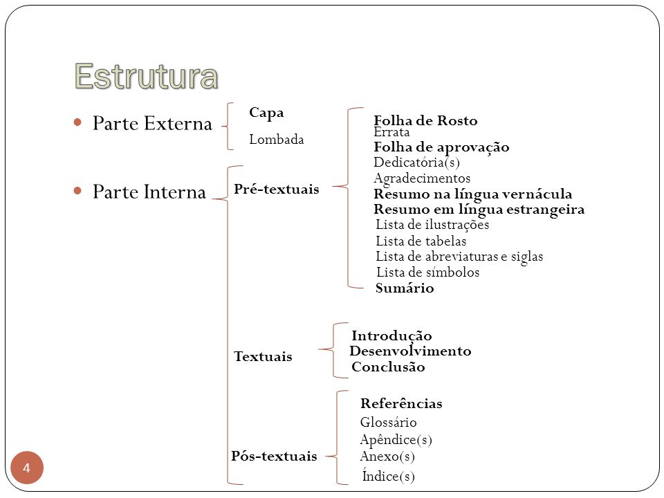 Estrutura Parte Externa Parte Interna Capa Folha de Rosto Errata