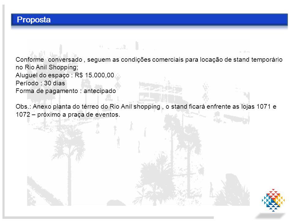 Proposta Conforme conversado , seguem as condições comerciais para locação de stand temporário no Rio Anil Shopping;