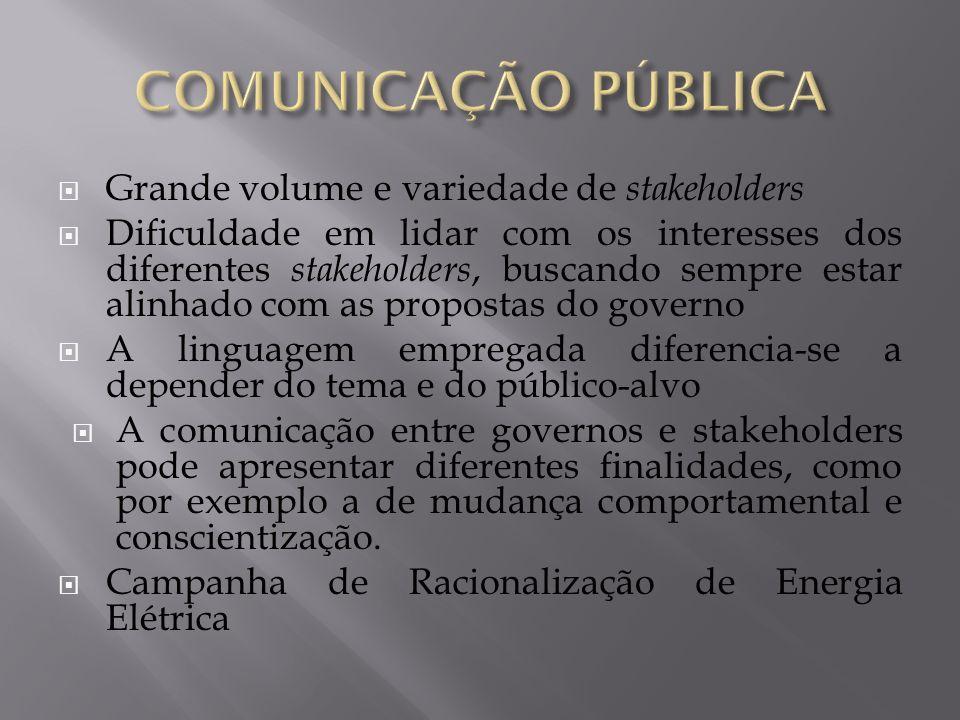 COMUNICAÇÃO PÚBLICA Grande volume e variedade de stakeholders