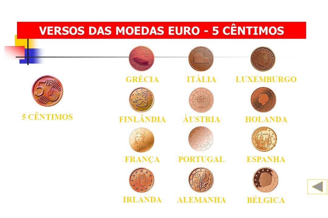 VERSOS DAS MOEDAS EURO - 5 CÊNTIMOS