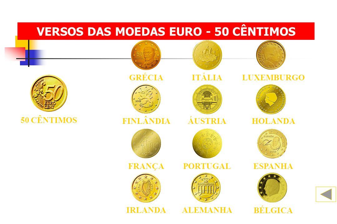 VERSOS DAS MOEDAS EURO - 50 CÊNTIMOS