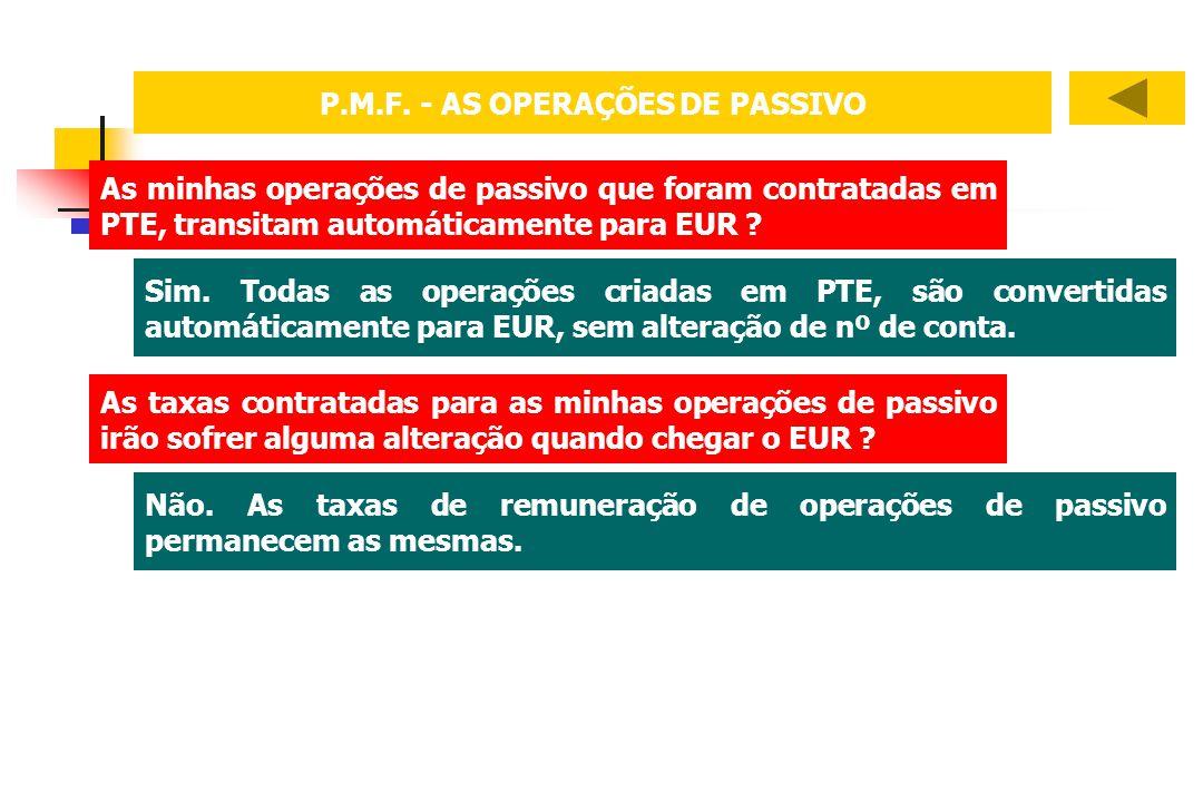 P.M.F. - AS OPERAÇÕES DE PASSIVO