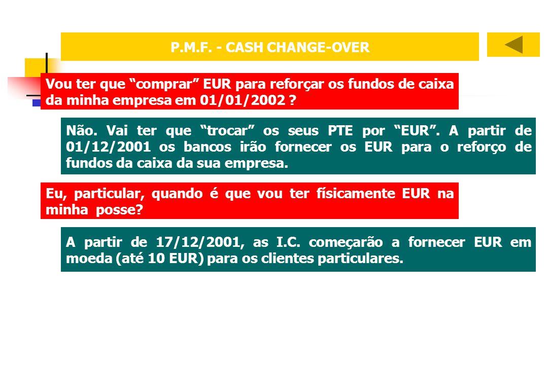P.M.F. - CASH CHANGE-OVER Vou ter que comprar EUR para reforçar os fundos de caixa da minha empresa em 01/01/2002