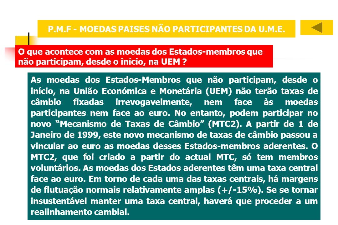 P.M.F - MOEDAS PAISES NÃO PARTICIPANTES DA U.M.E.