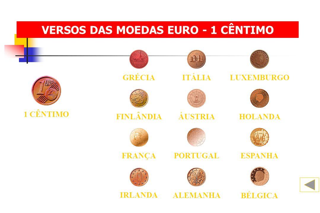 VERSOS DAS MOEDAS EURO - 1 CÊNTIMO