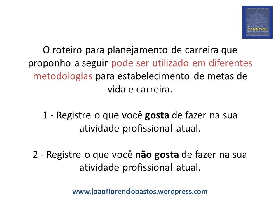O roteiro para planejamento de carreira que proponho a seguir pode ser utilizado em diferentes metodologias para estabelecimento de metas de vida e carreira.