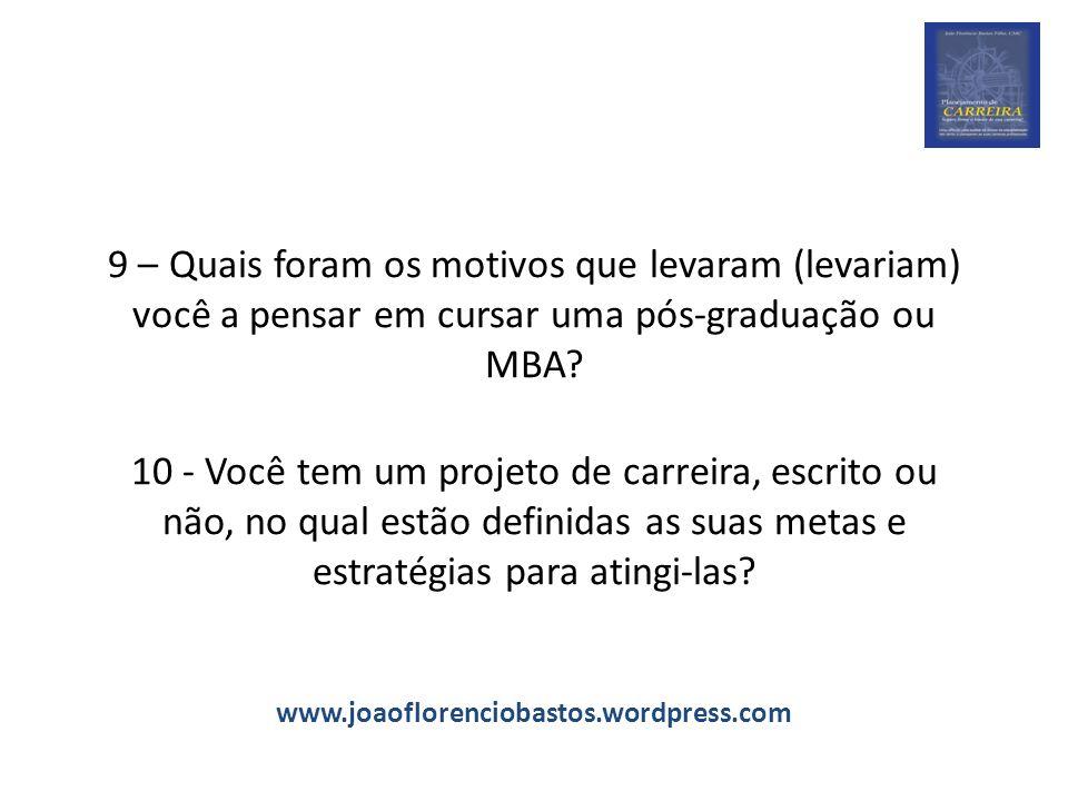 9 – Quais foram os motivos que levaram (levariam) você a pensar em cursar uma pós-graduação ou MBA.