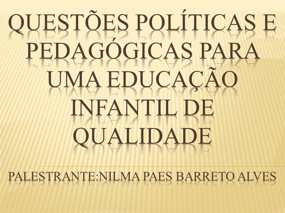 QUESTÕES POLÍTICAS E PEDAGÓGICAS PARA UMA EDUCAÇÃO INFANTIL DE QUALIDADE PALESTRANTE:NILMA PAES BARRETO aLVES