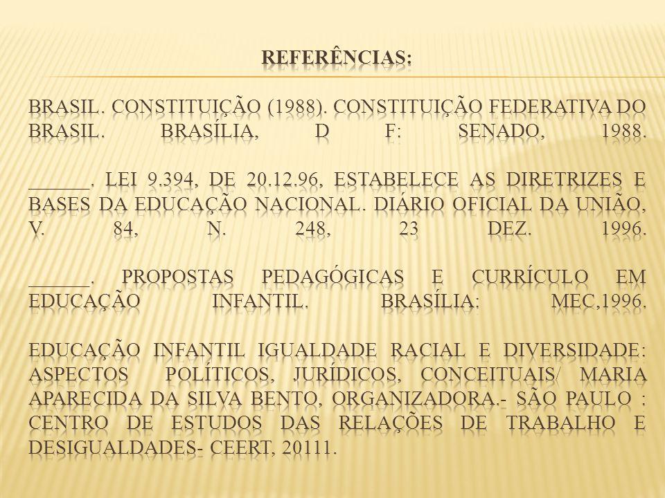 Referências: BRASIL. Constituição (1988)