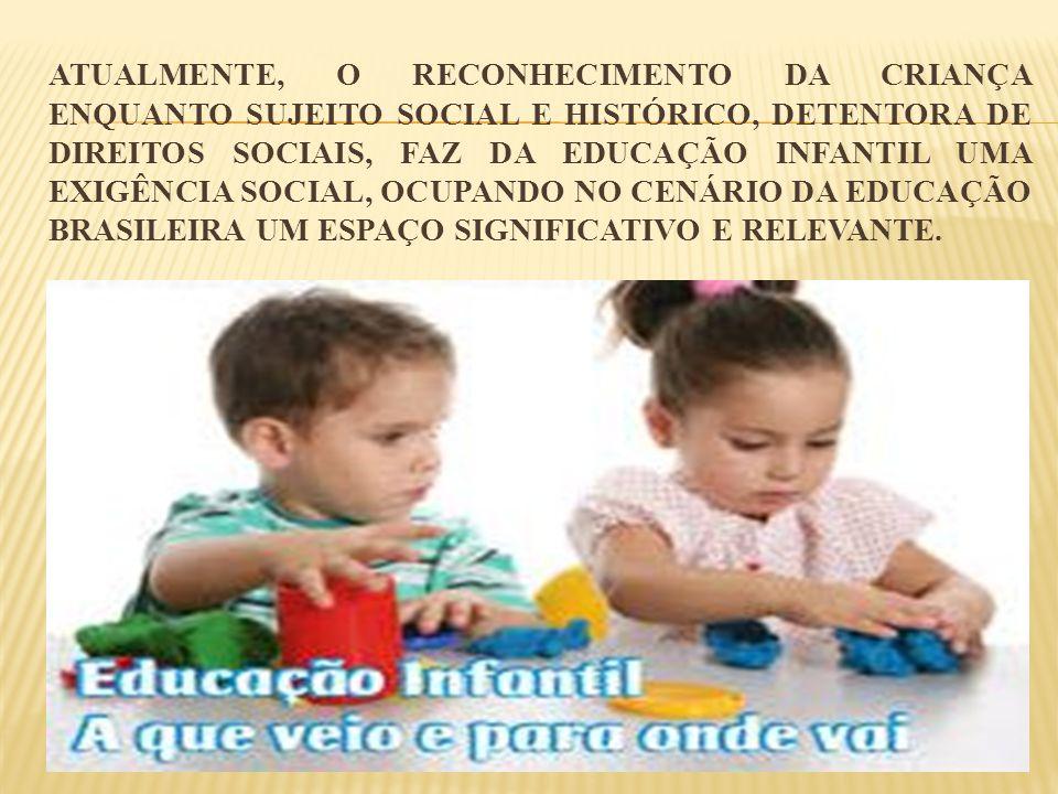 Atualmente, o reconhecimento da criança enquanto sujeito social e histórico, detentora de direitos sociais, faz da educação infantil uma exigência social, ocupando no cenário da educação brasileira um espaço significativo e relevante.